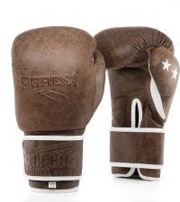 Боксови ръкавици от естествена кожа FORCE 1 кафяви F3201